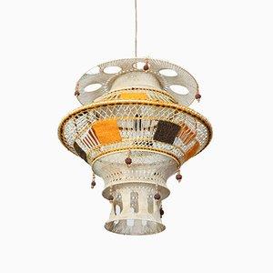Große Vintage Makramee Lampe, 1980er