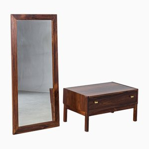 Mid-Century Swedish Rosewood Veneer Dresser & Mirror by Nyge, Set of 2