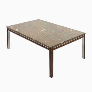 Vintage Danish Fossil Stone & Rosewood Coffee Table from Bendixen