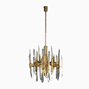 Italian Brass & Glass Icicles Chandelier by Gaetano Sciolari, 1970s