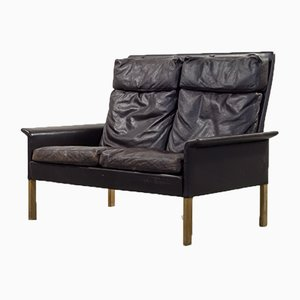 Mid-Century Leather 2-Seat Sofa by Hans Olsen for CS Mobelfabrik