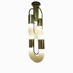 Murano Glass & Metal Chandelier by Aldo Nason for Mazzega, 1970s
