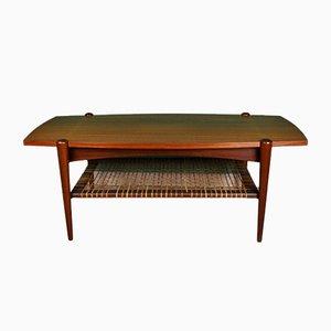 Table d'Appoint en Teck et Rotin par Louis van Teeffelen, 1960s