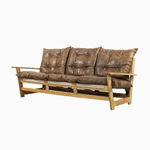 Mid-Century Oak 3-Seat Sculptural Sofa