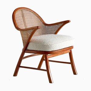 Moderner skandinavischer Armlehnstuhl aus Buche, Schilfrohr & Dédar Boulé von Frits Schlegel, 1950er
