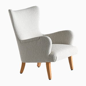 Pearl Bouclé & Sycamore Armchairs by Rolf Engströmer, 1946, Set of 2