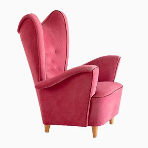Vintage Swedish Wingback Armchair by Otto Schulz for Boet, 1940s