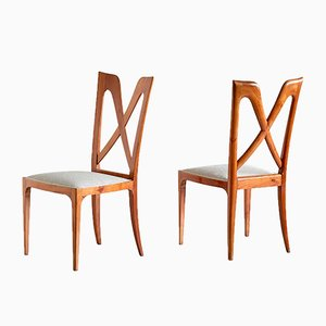 Vintage Italian Cherrywood Dining Chairs by Don Ulderico Alberto Carlo Forni, 1940s, Set of 6