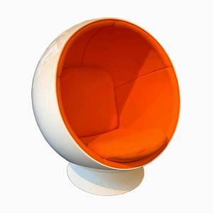 Vintage Finnish Space Age Orange & White Ball Chair by Eero Aarino for Adelta