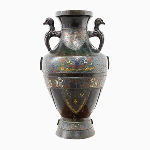 Antike chinesische Vase aus Bronze & Emaille