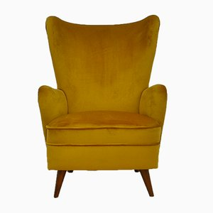 Mid-Century Velvet Wing Armchair