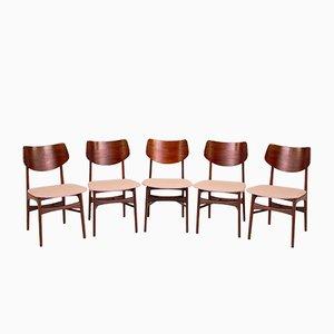 Modell Hamar Esszimmerstühle aus Teak von Louis Van Teeffelen für WéBé, 1960er, 5er Set