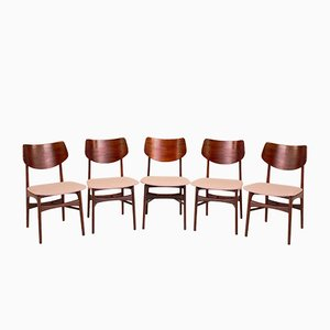 Teak Model Hamar Dining Chairs by Louis Van Teeffelen for WéBé, 1960s, Set of 5