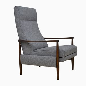 Mid-Century Armchair with Folding Footrest