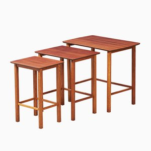 Mid-Century Danish Teak & Oak Nesting Tables