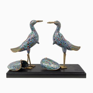 Enamel Cranes, 1950s, Set of 2
