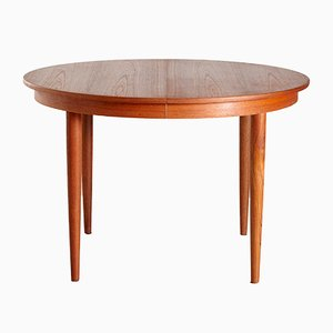 Vintage Danish Round Teak Extendable Dining Table, 1960s