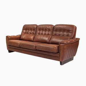 Mid-Century Danish Dark Cognac Leather 3-Seater Sofa