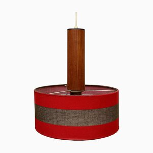 Red Teak Ceiling Lamp, 1960s