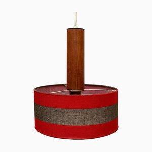 Rote Teak Deckenlampe, 1960er