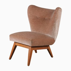 Mid-Century Dutch Velvet Lounge Chair, 1950s