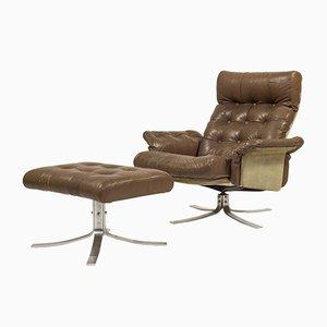 Vintage Modell Atlantis Sessel und Fußhocker von Søren Nissen & Ebbe Gehl