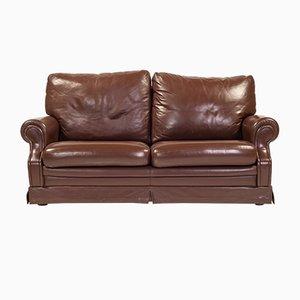 Braunes Italienisches Mid-Century Leder 2-Sitzer Sofa, 1970er