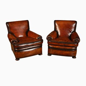 Vintage Leather Armchairs, 1920s, Set of 2