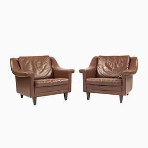 Mid-Century Danish Architectural Lounge Chairs, Set of 2