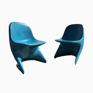 Blue Stacking Chairs by Alexander Begge for Casalino, 1972, Set of 2