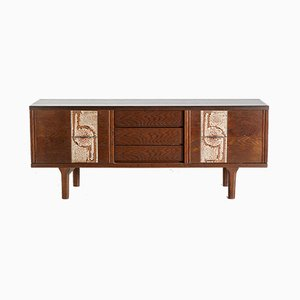 Mid-Century Danish Ceramic Inlaid Oak Sideboard, 1960s