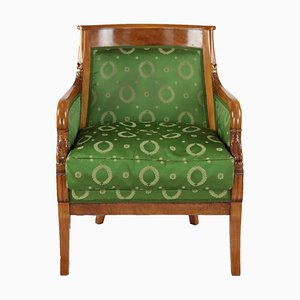 19th Century Empire Style French Solid Cherrywood and Silk Lounge Chairs, Set of 2