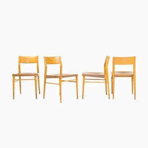Mid-Century Leather Model 351 Dining Chairs by Georg Leowald for Wilkhahn, Set of 4