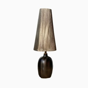 Vintage Brown Ceramic Table Lamp from Agne Aronsson, 1960s