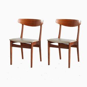 Dänische Mid-Century Teak Esszimmerstühle, 1960er, 2er Set