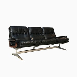Leather King 3-Seater Sofa by André Vandenbeuck for Strässle, 1960s