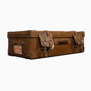 Large Antique English Leather Travel Suitcase