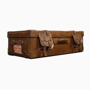 Maleta de viaje inglesa antigua grande de cuero
