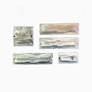Mid-Century Italian White Murano Glass Sconces from Venini, 1950s, Set of 5