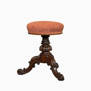 Antique English Walnut Music Stool