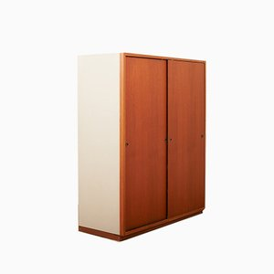 Mid-Century Teak Veneer and Brass Wardrobe by Børge Mogensen for Boligens Byggeskabe, 1950s