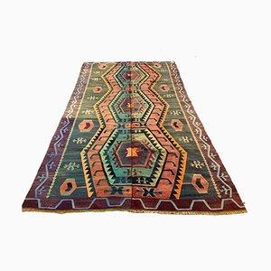 Großer Türkischer Vintage Kelim-Teppich in Lila, Rosa, Schwarz & Blau aus Wolle