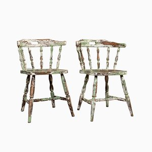 Antique French WIndsor Beech Armchairs, Set of 2