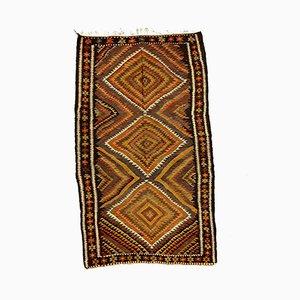 Großer türkischer Bakhtiari Kilim Teppich aus türkischer roter, schwarzer & brauner Wolle