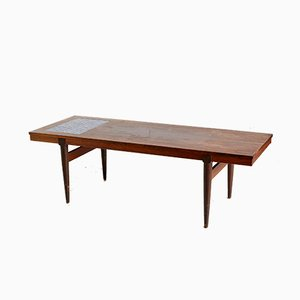 Mid-Century Danish Ceramic Inlaid Rosewood Coffee Table, 1960s