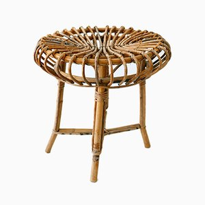 Italian Bamboo & Wicker Stool, 1950s