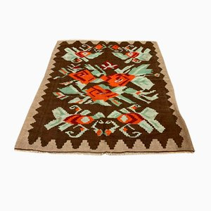 Vintage Turkish Wool Square Kilim Rug