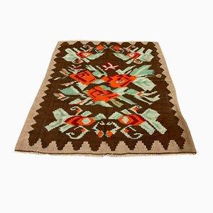 Vintage Turkish Wool Square Kilim Rug