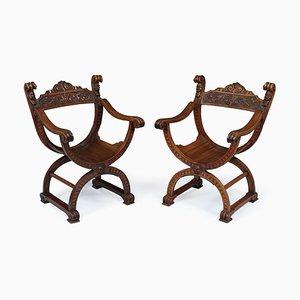Antike Beistellstühle aus Nussholz, 1880er, 2er Set
