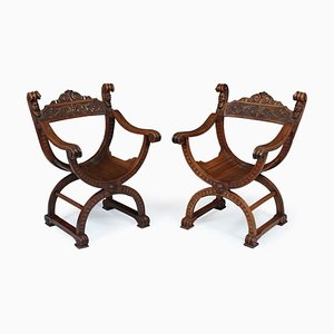 Antique Walnut Side Chairs, 1880s, Set of 2